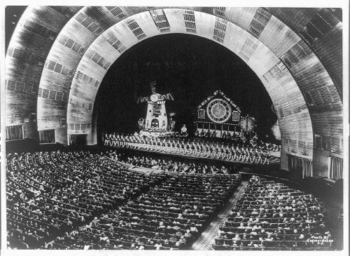 Hall Radio Photos Music City - Photo: Interior, Rockettes, stage, Ochestra, pit, Radio City Music Hall, New York City, 1940 . Size: