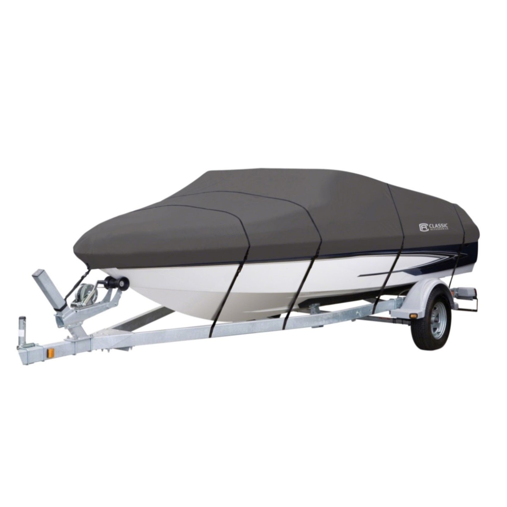 Classic Accessories StormPro Heavy-Duty Boat Cover With Support Pole For V-Hull Runabouts, 22' - 24' L Up to 116'' W