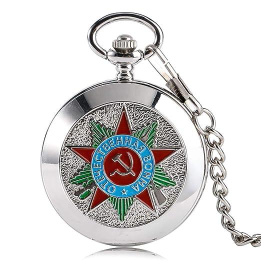 Reloj de bolsillo de lujo, plata de la Federación de Rusia Soviética martillo de mechero comunismo insignia reloj de bolsillo, vintage y retro regalo para ...