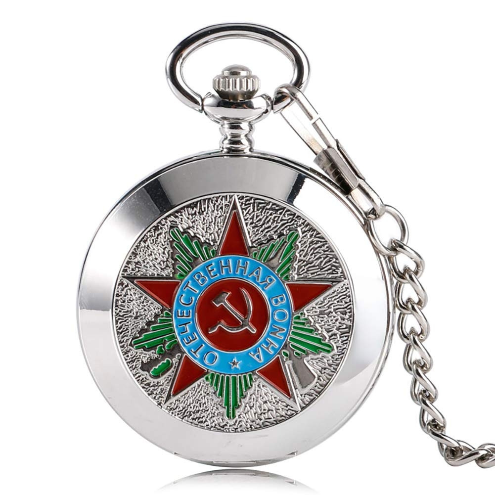 Luxury Pocket Watch, Silver Russia Soviet Sickle Hammer Communism Badge Pocket Watch, Vintage and Retro Gift for Men