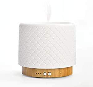 ZEIGGA LAB Buba Essential Oil Diffuser Lamp, 280ML Water Capacity, Ceramic Cover & Bamboo Base