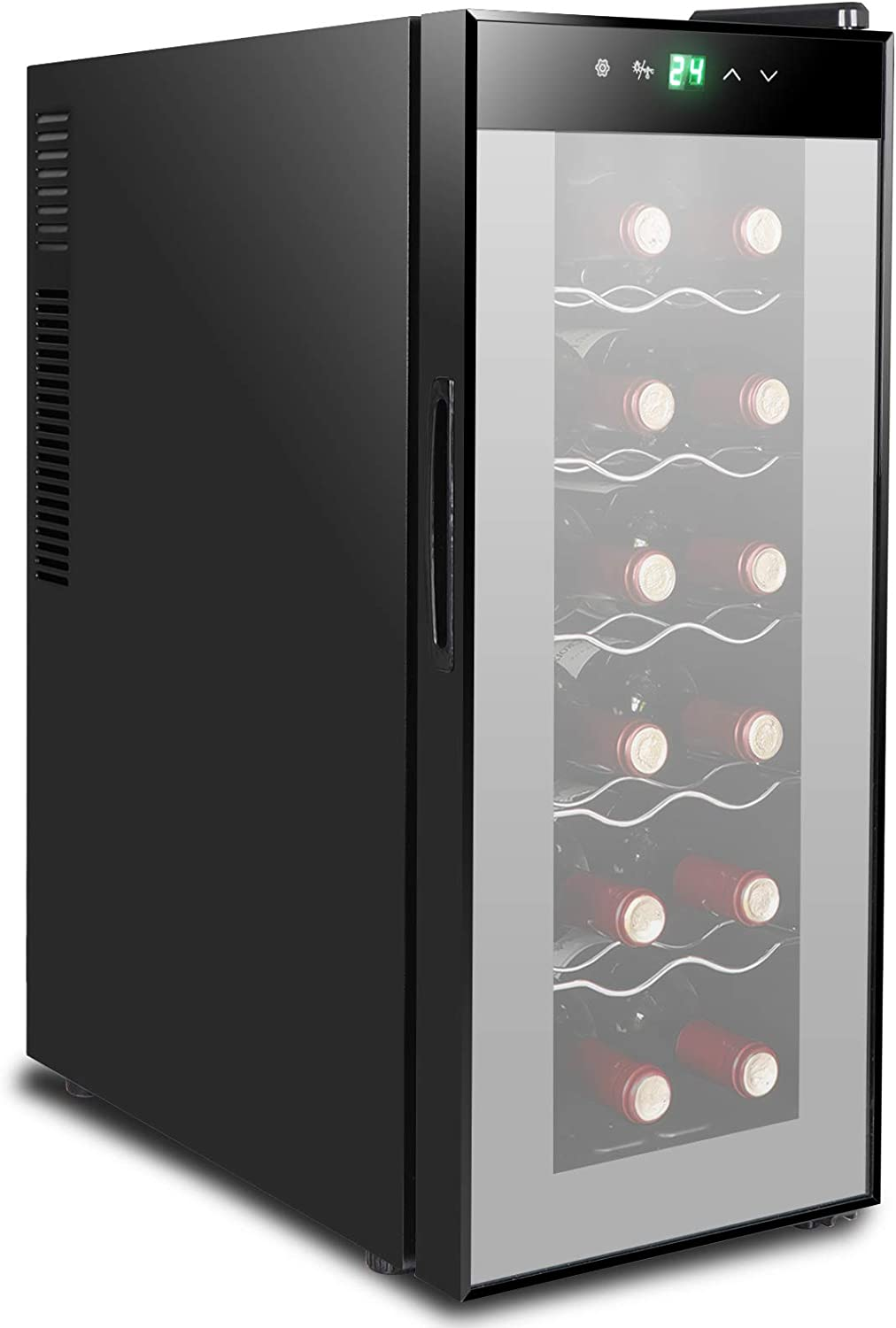ZENY 12 Bottle Red White Champagne Chiller, Thermoelectric Wine Cooler Refrigerator, Counter Top Wine Cooler, Quiet Operation Fridge, Touch Temperature Display