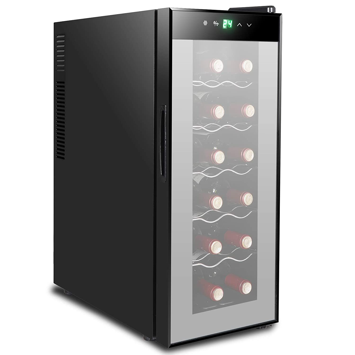 BBBuy 18 Bottle Thermoelectric Red & White Wine Cooler/Chiller Counter Top Wine Cellar with Digital Temperature Display, Freestanding Refrigerator Smoked Glass Door, Quiet Operation Fridge (12 Bottle)