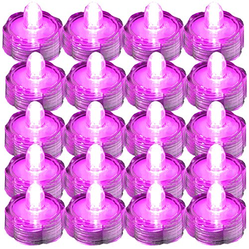 SUPER Bright LED Floral Tea Light Submersible Lights For Party Wedding (Pink, 20 Pack)]()