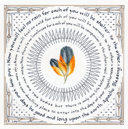 Literary Calligraphy Apache Blessing Art Print by Susan Loy