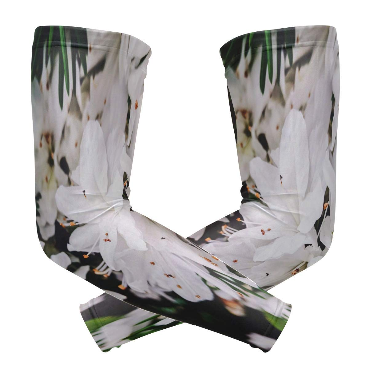 Arm Sleeves White Flowers Mens Sun UV Protection Sleeves Arm Warmers Cool Long Set Covers