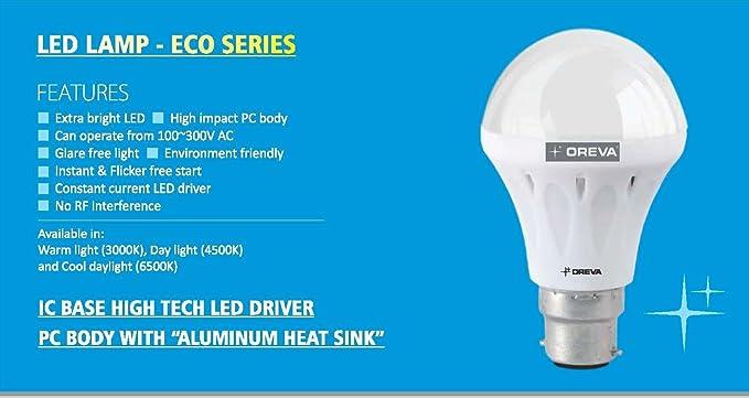 6 W bombillas LED bayoneta (B22) bombillas de bajo consumo Eco Series Cool Daylight