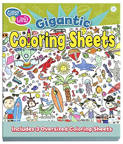 C.R. Gibson Gibby & Libby Kid's Giant Coloring Sheets, Beach and Space, 3 pcs Toy