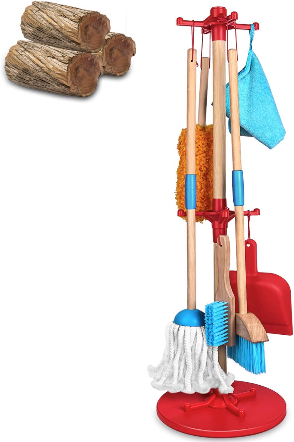 AOKESI Kids Cleaning Set 7 Piece - Wooden Detachable Toy Cleaning Set Includes Kid-Sized with Housekeeping Broom, Mop, Duster, Clothes and Organizing Stand for Skill- and Confidence-Building