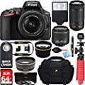 Nikon D5500 Digital SLR Camera with 18-55mm & 70-300mm Dual NIKKOR Lens Kit + Accessory Bundle