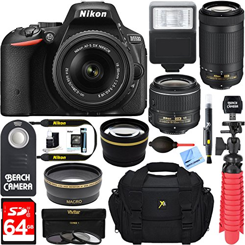 Nikon D5500 Digital SLR Camera with 18-55mm & 70-300mm Dual NIKKOR Lens Kit + Accessory Bundle by Beach Camera