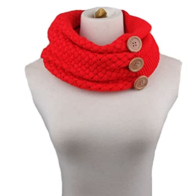 752d4abc6cb7 Tininna Tour de cou pour femmes, saisons automne-hiver, chaud, écharpe  tricotée en laine épaisse avec boutons - - taille unique  Amazon.fr   Vêtements et ...