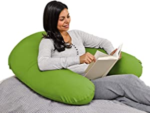 Yogibo Support Reading Pillow, Unique U-Shaped Backrest with Arms, Provides A Lift for Watching TV, Gaming, Working, Filled with Soft Micro-Beads, Green