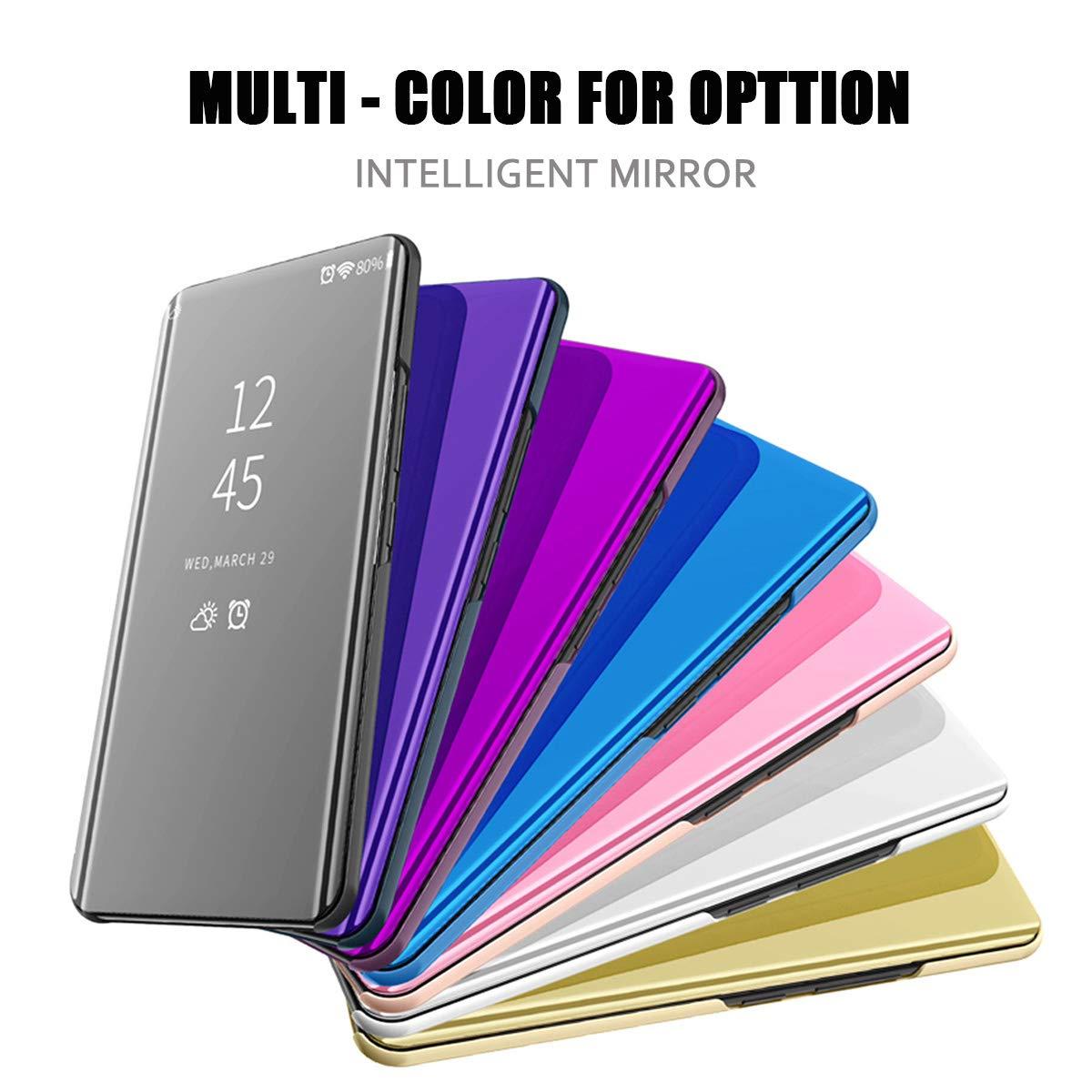 kompatibel Huawei P20 lite//nova 3e H/ülle neueste Mirror Case Spiegel Schutzh/ülle PU Leder Flip Handy Case Clear View Standing Cover f/ür Huawei P20 lite//nova 3e