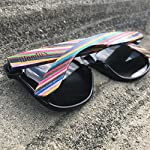 Woodies Rainbow Wood Sunglasses with Black Polarized Lenses 18 Handmade from Rainbow Wood (50% Lighter than Ray-Bans) Includes FREE Carrying Case, Lens Cloth, and Wood Guitar Pick Polarized Lenses Provide 100% UVA/UVB Protection