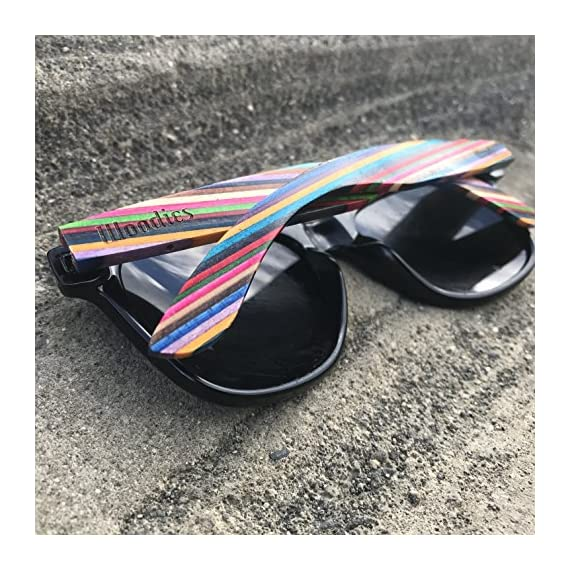 Woodies Rainbow Wood Sunglasses with Black Polarized Lenses 9 Handmade from Rainbow Wood (50% Lighter than Ray-Bans) Includes FREE Carrying Case, Lens Cloth, and Wood Guitar Pick Polarized Lenses Provide 100% UVA/UVB Protection