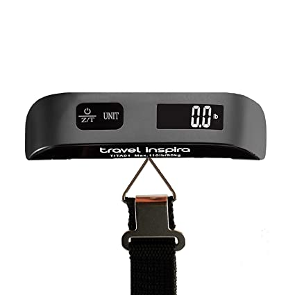 7d141371cd23 travel inspira Digital Luggage Scales with Overweight Alert Rubber Paint  Technology White Backlight LCD Display 110LB / 50KG Hanging Baggage Scale  ...