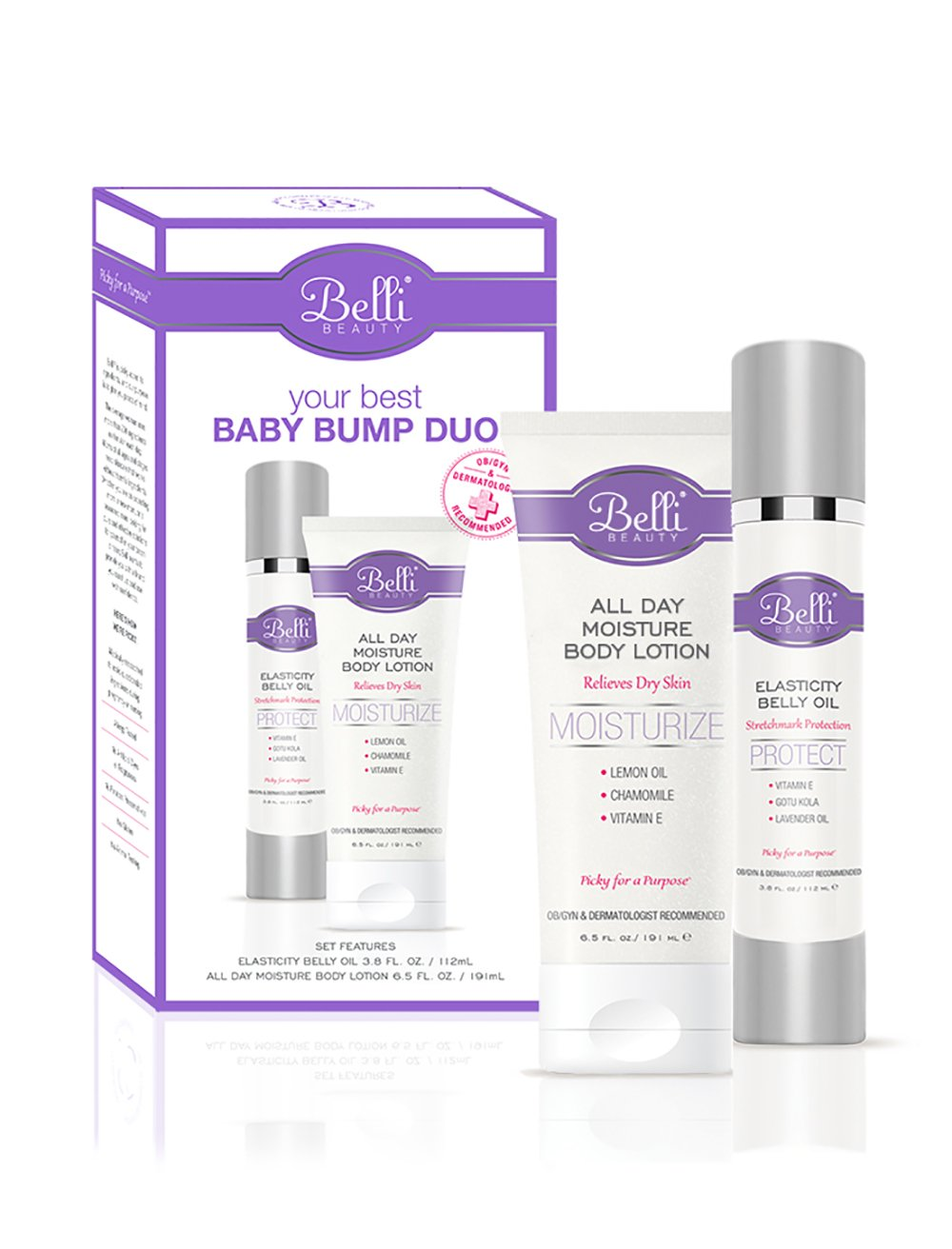 Belli Your Best Baby Bump Duo – Safeguard Against the appearance of Stretch marks and comfort dry skin with Elasticity Belly Oil and All Day Moisture Body Lotion