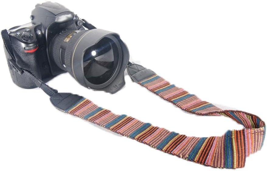 CLOVER Retro Vintage Multi-Color Stripe Universal Soft Neck Shoulder Strap for Canon Fuji Nikon Olympus Panasonic Pentax Sony DSLR SLR Camcorder Mirrorless Cameras