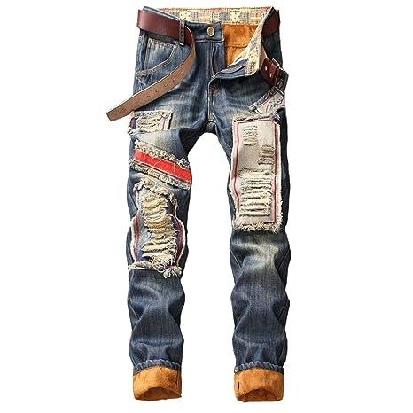 Chlyuan Jeans de Hombre Vaqueros con Forro de vellón para ...