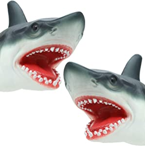 JurassicX Scary Shark Hand Puppet, Beach & Bath Toy | Realistic 'Great White' Soft Rubber Shark Glove Puppet for Kids, Boys, Girls, Toddlers, Children Aged 3 4 5 6 7 8 9 10+ (2 Pack)
