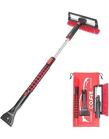 WawaAuto 60cm Rascador de hielo Cepillo para la nieve Rasqueta para hielo limpiacristales y cepillo quitanieves Plata
