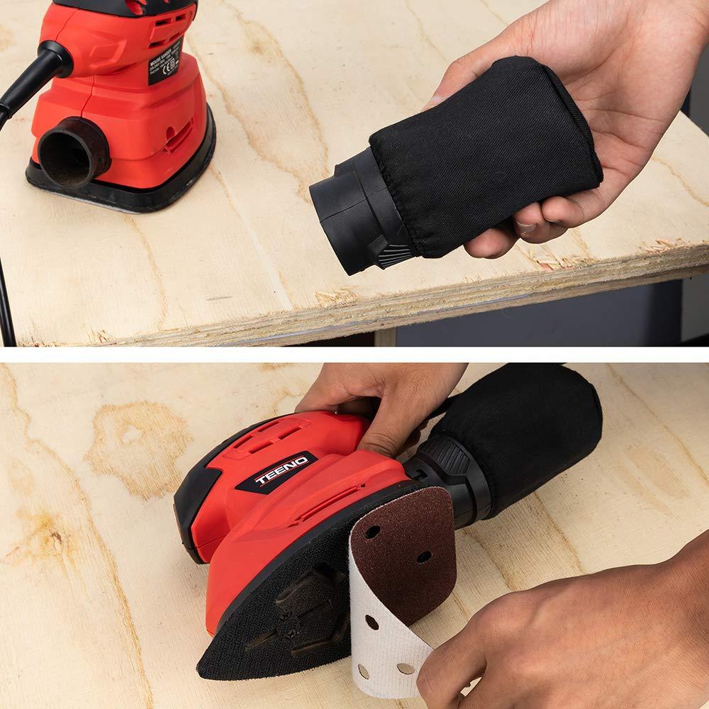 10 Papeles de Lija,3 Esponja de limpieza TEENO Lijadora El/éctrica 130W Lijadora Mouse con Caja de Polvo