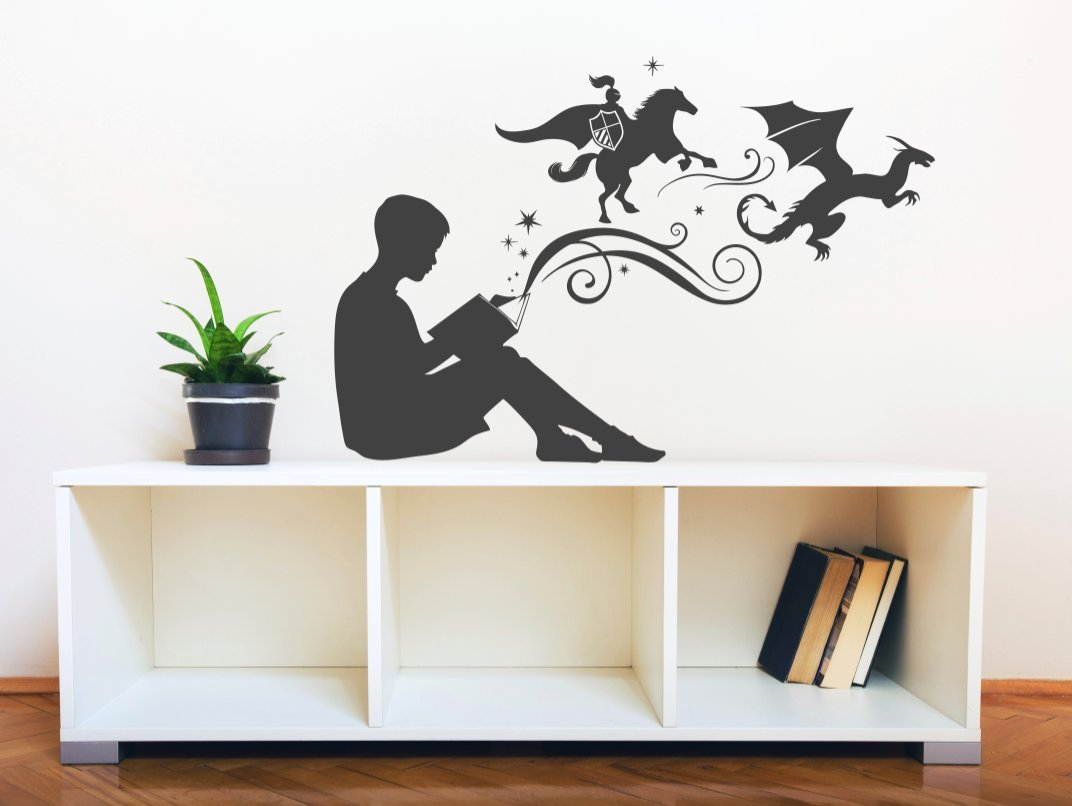 Boy Reading Magic Book - Facing Right, Small, Black - Vinyl Wall Art Decal for Homes, Offices, Kids Rooms, Nurseries, Schools, High Schools, Colleges, Universities