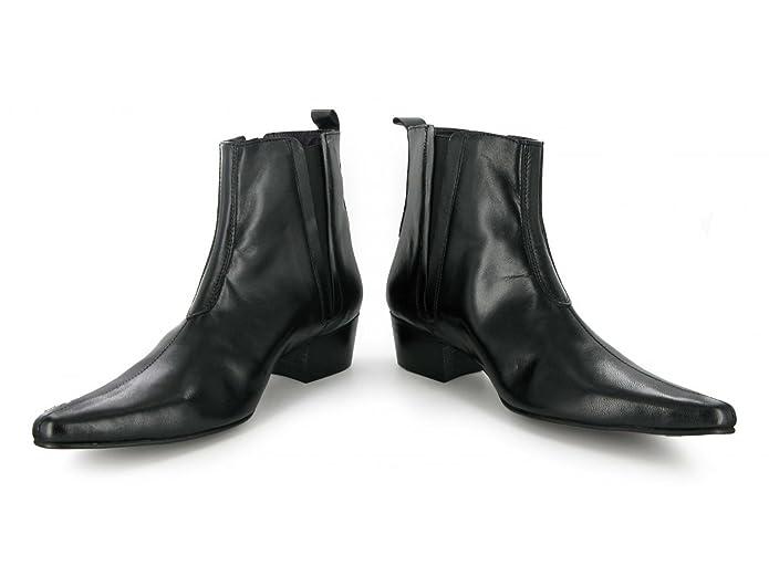 Gucinari BRUNO Mens Leather Suede Cuban Heel Pointed Winklepicker Chelsea Boots
