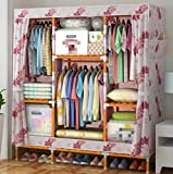 GL&G Portable Clothes Closet Oxford cloth Wardrobe Double Rod Storage Organizer Bedroom Wardrobes Clothing Wardrobe Storage Solid wood Foldable Closets,G,68''58''