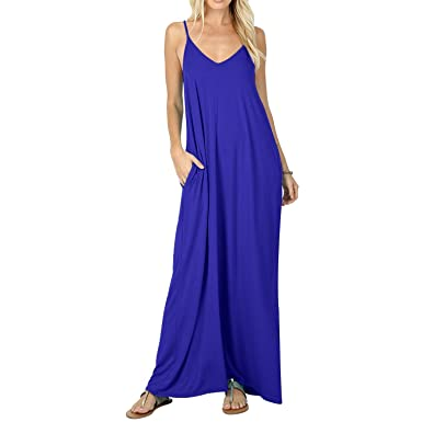 85e5646cb5 CLANDY Beach Dress for Women, Deep V Neck Sexy Flowy Adjustable Shoulder Strap  Tank Cami