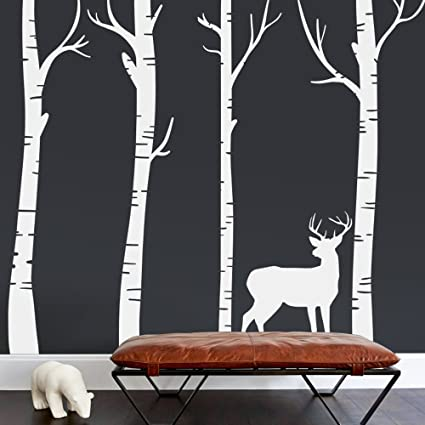 e19d33d3059 Image Unavailable. Image not available for. Color  MoharWall Set 4 Large  Birch Tree Wall Decal Forest Kids Vinyl Sticker ...