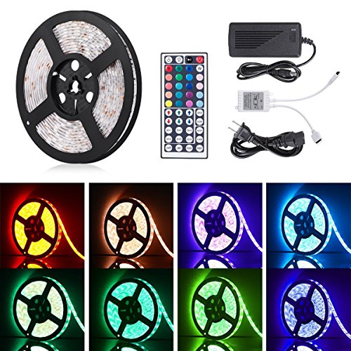 Boomile 16.4ft 12V Flexible LED Light Strip, LED Tape, RGB 300 Units SMD 5050 LEDs, Waterproof, LED Ribbon, LED Light Strips, For Home/Kitchen/Car/Bar, Power Adapter Included by Boomile