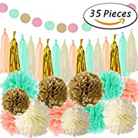 Paxcoo 35 Pcs Mint Gold Tissue Pom Poms Paper Flowers Tissue Tassel Paper Garland for Baby Shower Party Decorations