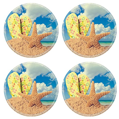 MSD Natural Rubber Round Coasters IMAGE 19860398 Sunglasses on sandy beach with flip flops and starfish against the ocean vintage feel
