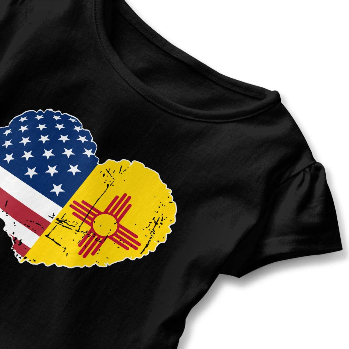 Vfbggg-Shirt New Mexico USA Flag Heart Baby Girls Short Sleeve Ruffle Tee Cotton Kids T Shirts 2-6 Years