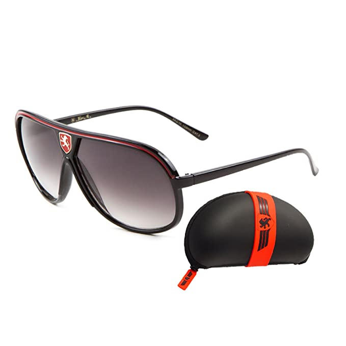 3d1390ca02 KHAN Mens Aviator Sunglasses Oversized Turbo Sport Racer Style Fashion ( Black Red