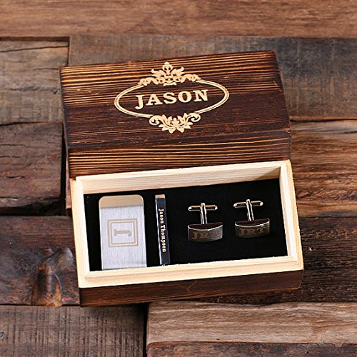 Cufflinks Logo Gift - Personalized Gentleman Gift Set Cuff Links Money Clip Tie Clip with Wood Box