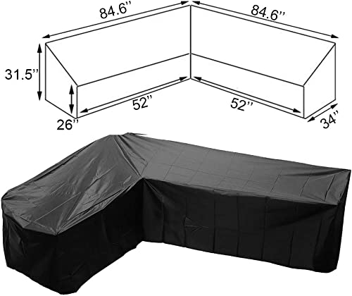 FLYMEI V Shaped Patio Sofa Cover, Outdoor Sectional Furniture Cover, Waterproof Garden Couch Cover V-Shaped Sofa Cover