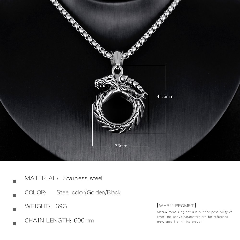 7d2f8237d5b40 TEMICO Men's Vintage Stainless Steel Gothic Ouroboros Dragon Circle Pendant  Necklace, Chain 23.6 Inches