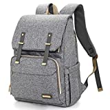 Diaper Bag Backpack, Large Baby Bags for Boys and Girls Waterproof Travel Back Pack Stylish for Mom and Dad with Changing Pad, Insulated Pockets (Gray) Reviews