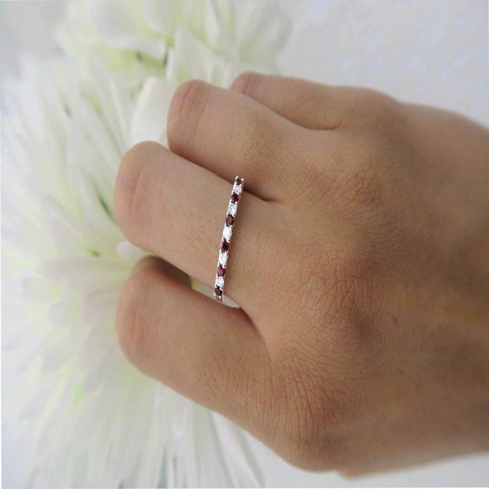 Dazzlingrock Collection 10K Round Gemstone /& White Diamond Anniversary Stackable Wedding Band White Gold