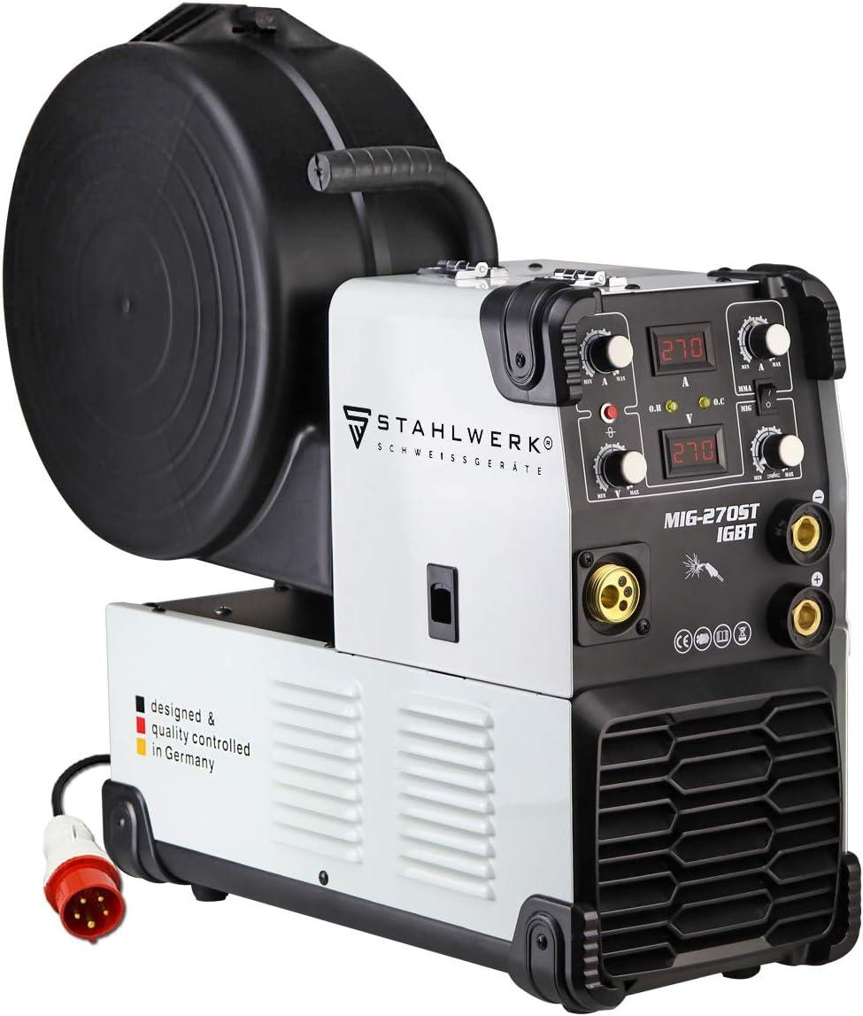 STAHLWERK MIG 270 ST IGBT - máquina de soldar con gas de protección MIG MAG con 270 Amperio, adecuada para FLUX, MMA soldadura de electrodos, 7 años de garantía