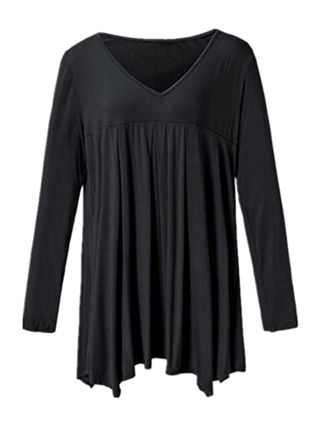 AILIENT Mujer Suelto Camiseta Mangas Largas Casual Camisas V Cuello Tallas Grandes Blusa Elegante Tops Ocasionales