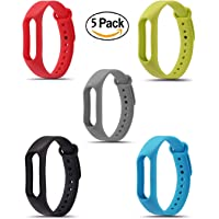Rapidotzz 5 in 1 Pack Replacement Wristbands Wireless Replacement Band for Xiaomi Mi 2 Bracelet Silicone Band 2 Strap Wristband Accessories Tracker Not Included.5 Colors