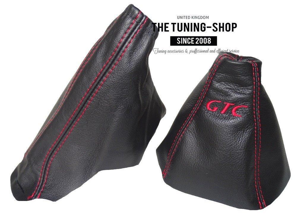 Gear /& Handbremsmanschette schwarz Echtleder rot Stickerei GTC