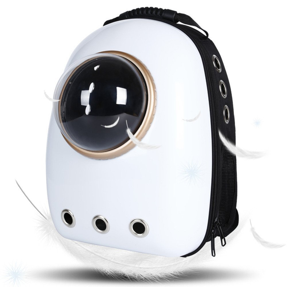 Geekercity Pet Carrier Backpack Bag for Small Little Medium Dogs Cats, Innovative Portable Plastic Space Capsule Astronaut Travel Bubble Box Purse for Women Men Outdoor Indoor Use (White)