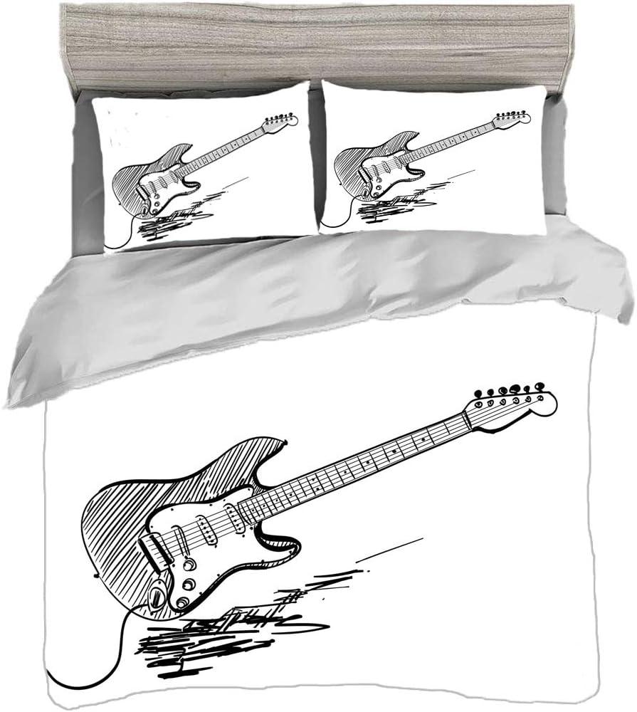 Juego de funda nórdica (150 x 200 cm) con 2 fundas de almohada Guitarra Ropa de cama con impresión digital Guitarra eléctrica estilo dibujado a mano sobre fondo blanco Acuerdos de música rock Arte de