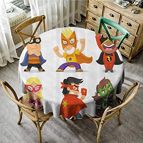 familytaste Wrinkle Free Tablecloths Superhero,Children Dressed as Superheroes Kids Playroom Girls Boys Nursery Babyish Picture,Multicolor D 50