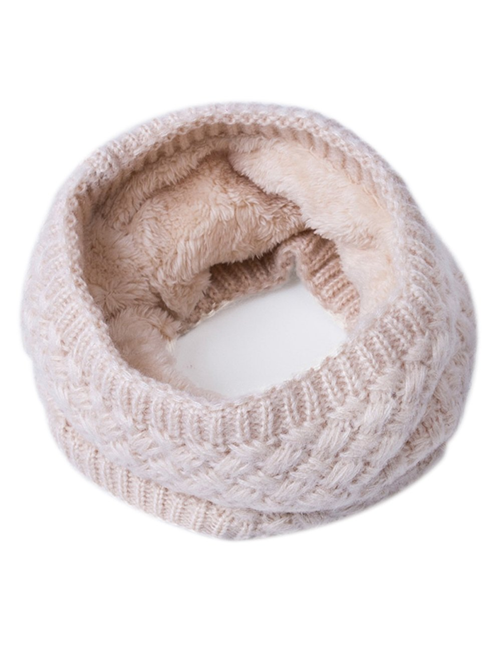 EVRFELAN Infinity Scarf Winter Women Circle Loop Scarves Warm Kids Neck Warmer Chunky Knit Soft Thick Fashion Ladies Accessories Ribbed Girls Men Boy Collar (Beige)
